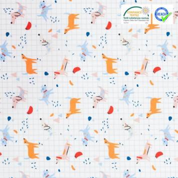 Coton blanc motif chien multiple