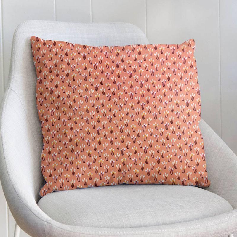 Coton rose saumon motif fleurs ocre papluma