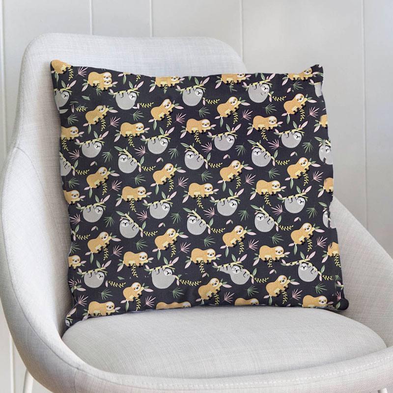 Coton gris anthracite motif paresseux