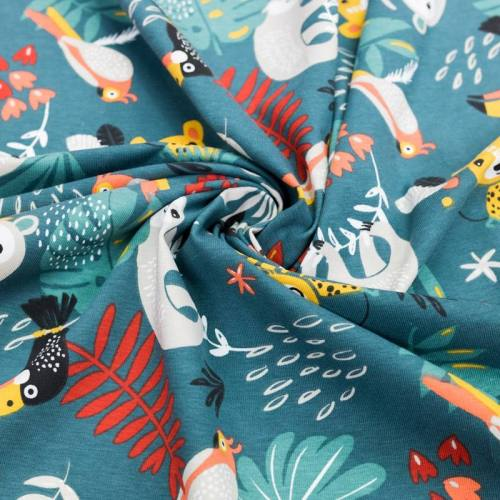 Jersey vert motif animaux de la jungle et feuille tropicale papaya