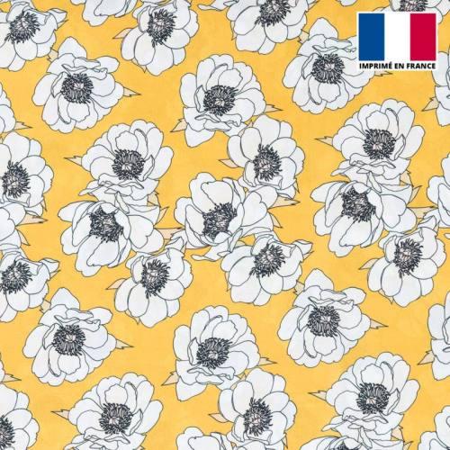 Satin jaune ocre imprimé fleur blanche