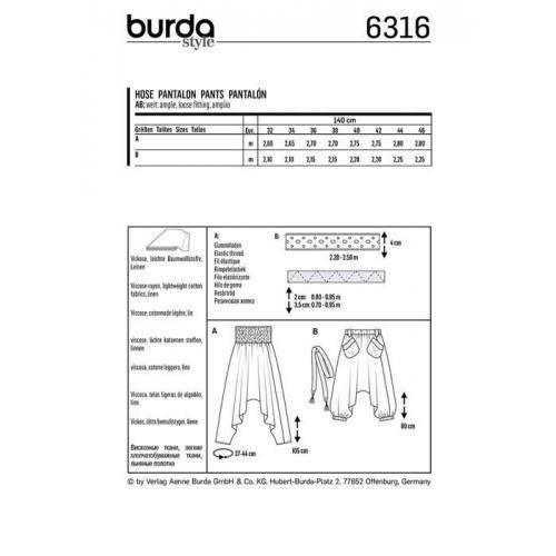 Patron Burda 6316 : Pantalon Taille 32-46