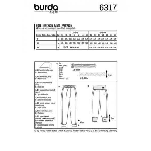 Patron Burda 6317 : Pantalon Taille 34-46