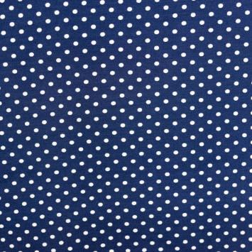 Tissu viscose bleu à pois blancs
