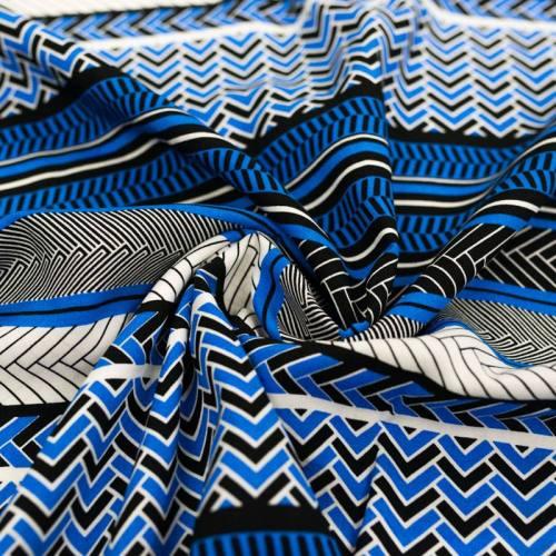 Tissu viscose motif géo-ethnique bleu marine et bleu clair