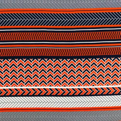 Tissu viscose motif géo-ethnique bleu marine et rouge