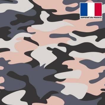 Lycra imprimé militaire gris et chair
