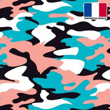 Lycra imprimé militaire rose et bleu