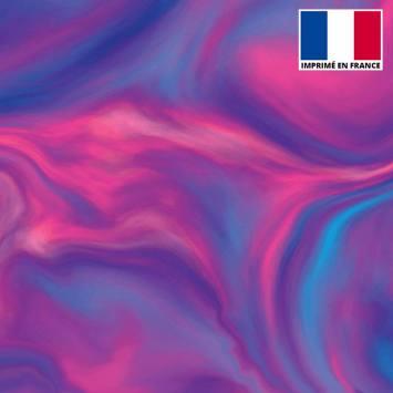 Lycra imprimé magma rose et bleu