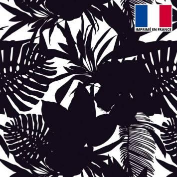 Lycra imprimé jungle noir et blanc