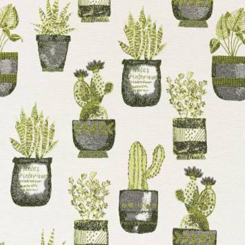 Jacquard blanc cassé motif plantes vertes