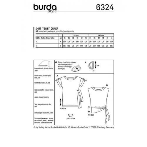 Patron Burda 6324 : Haut Taille : 34-44