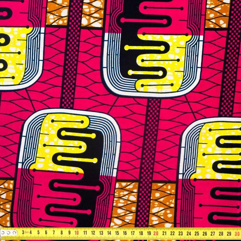 Wax - Tissu africain fuchsia et marron 298