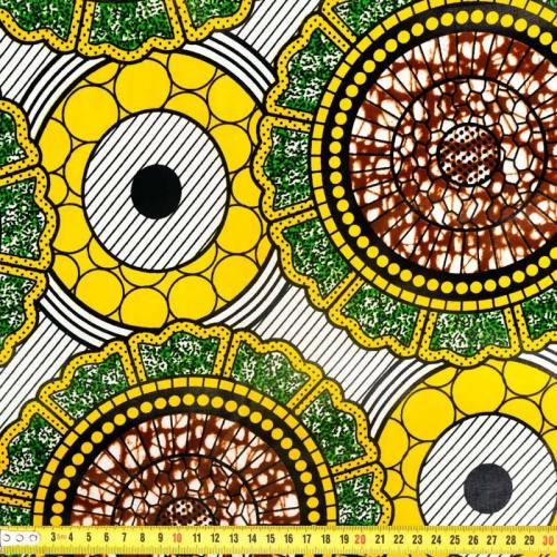 Wax - Tissu africain jaune et marron 287
