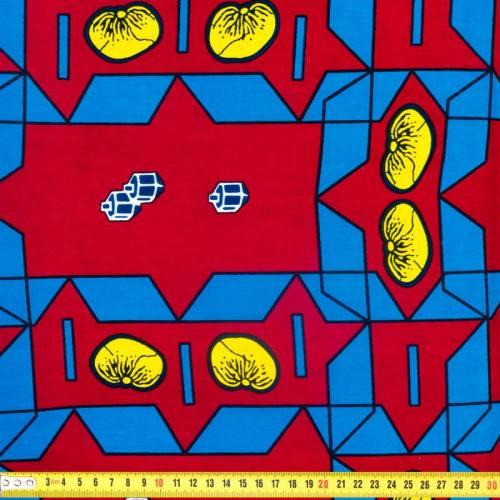 Wax - Tissu africain bordeaux et bleu 307