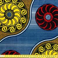 Wax - Tissu africain rosaces jaune et rouge 309