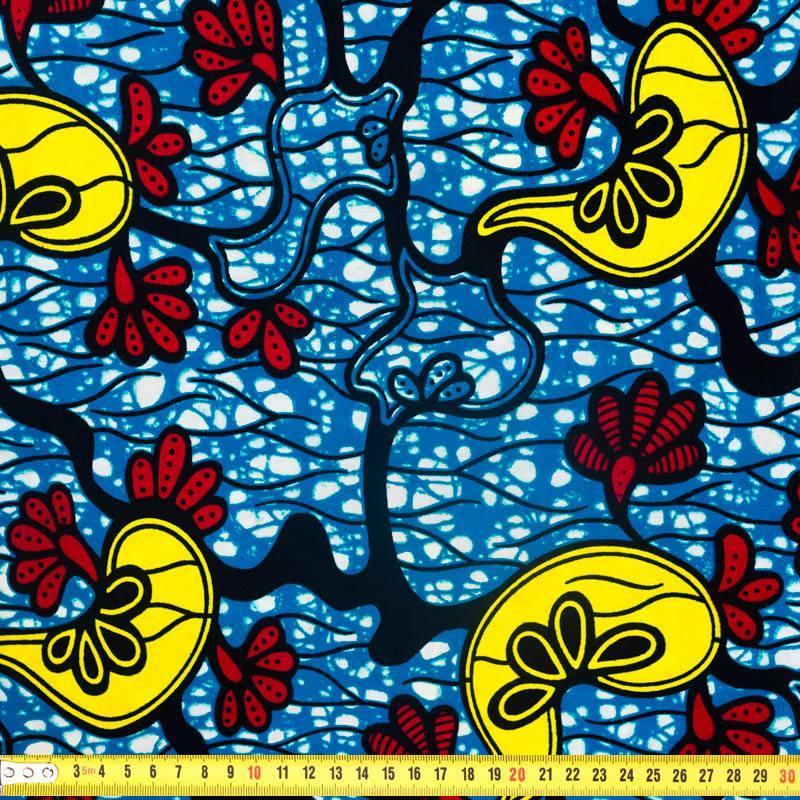 Wax - Tissu africain bleu motif rouge et jaune 313