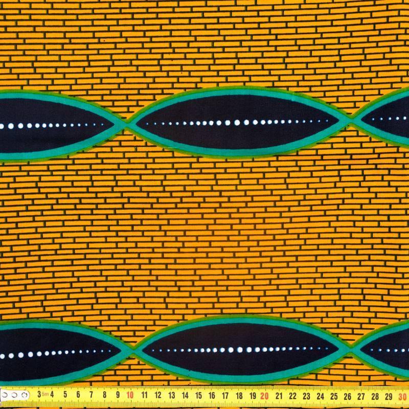 Wax - Tissu africain brique safran 295