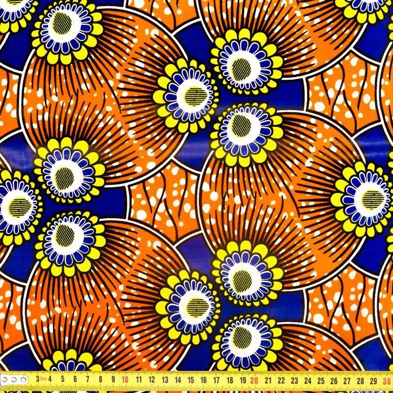 Wax - Tissu africain violet, jaune et orange 291