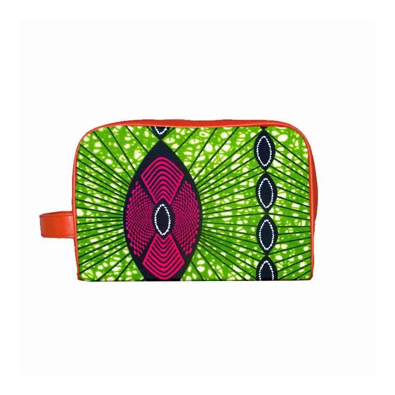 Wax - Tissu africain vert et fuchsia 308