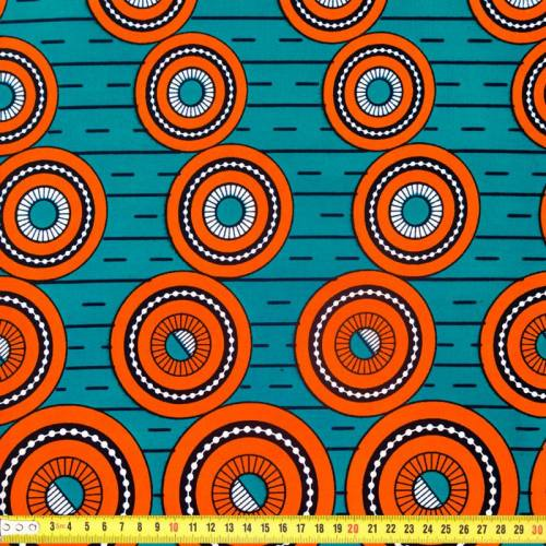 Wax - Tissu africain bleu paon motif rond orange 302