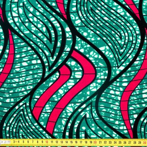 Wax - Tissu africain vert émeraude et fuchsia 312