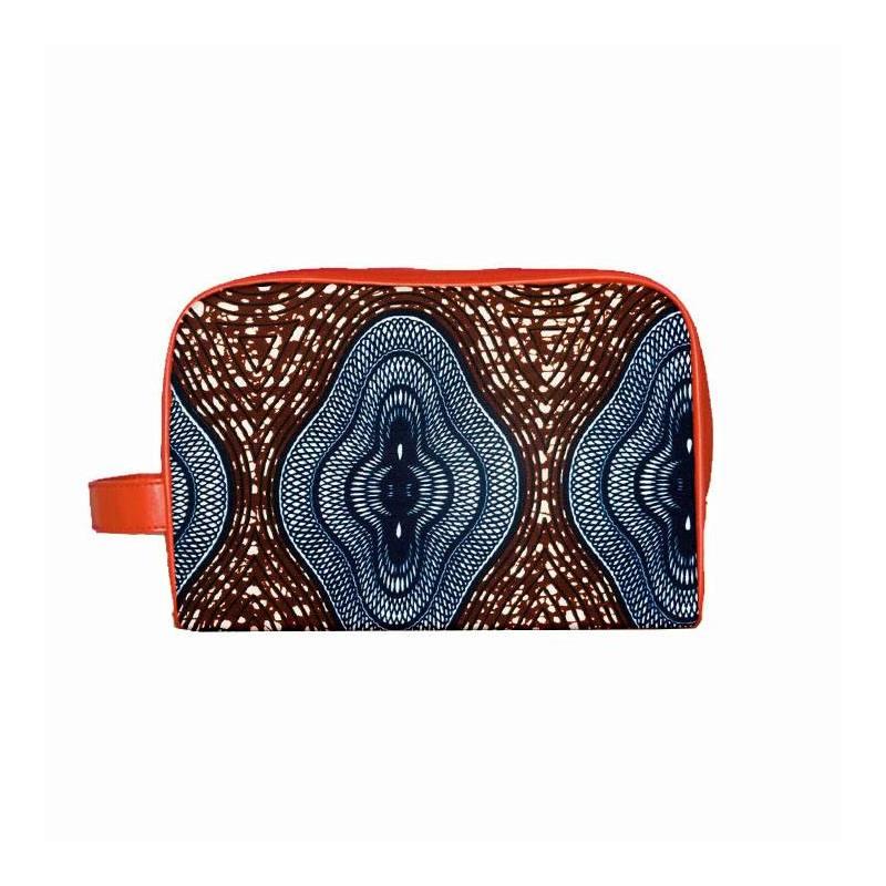 Wax - Tissu africain marron et bleu 310