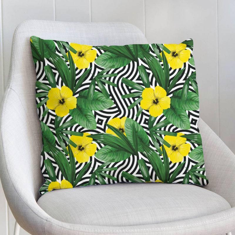 Velours ras imprimé vague et fleur jaune