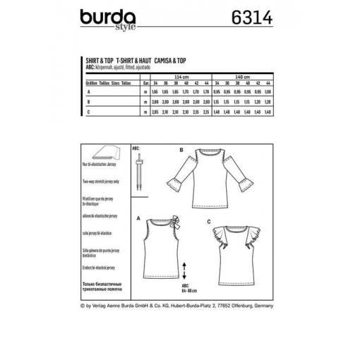 Patron Burda 6314 : T-shirt Taille : 34-44