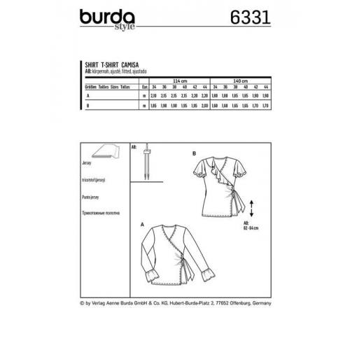 Patron Burda 6331 : T-shirt Taille : 34-44
