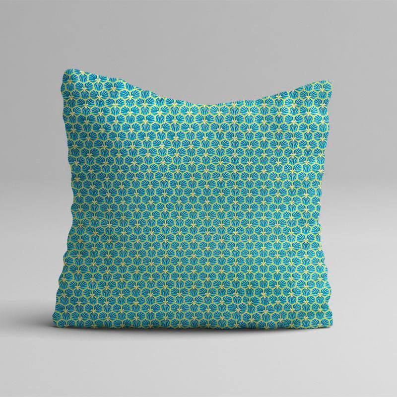 Coton bleu bondi motif trèfle riad