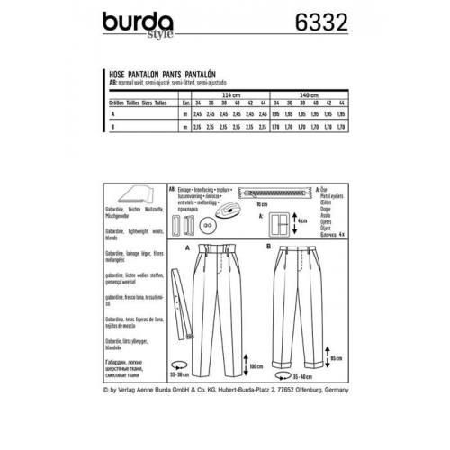 Patron Burda 6332 : Pantalon Taille 34-44