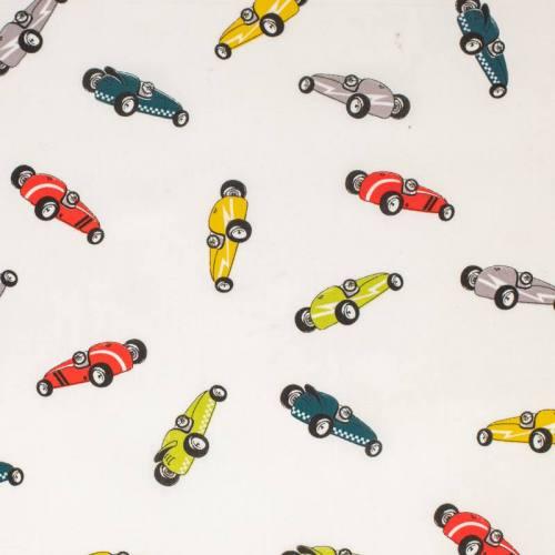 Popeline de coton blanche imprimée voitures de course