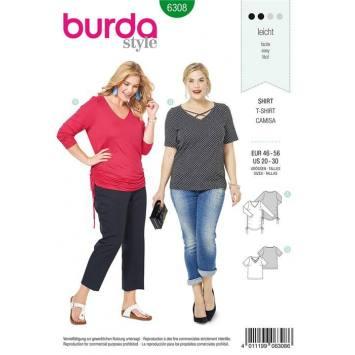 Patron Burda 6308 : T-shirt Taille : 46-56