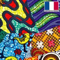 Velours ras imprimé wax patchwork
