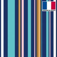 Tissu scuba bleu imprimé rayure turquoise et or