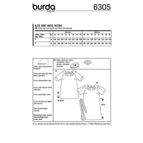 Patron Burda 6305 : Robe Taille : 46-60