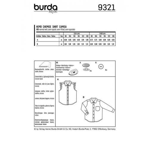 Patron Burda 9321 : Chemise Taille : 98-128 cm