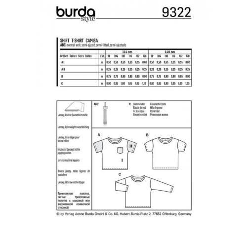 Patron Burda 9322 : T-shirt Taille : 98-128 cm