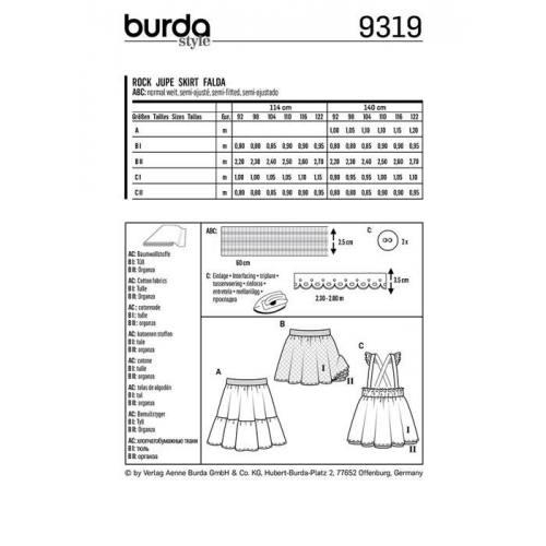 Patron Burda 9319 : Jupe Taille : 92-122 cm