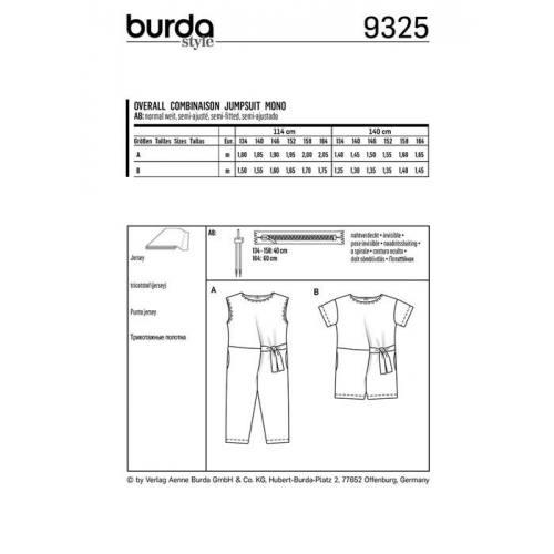 Patron Burda 9325 : Combinaison Taille : 134-164 cm