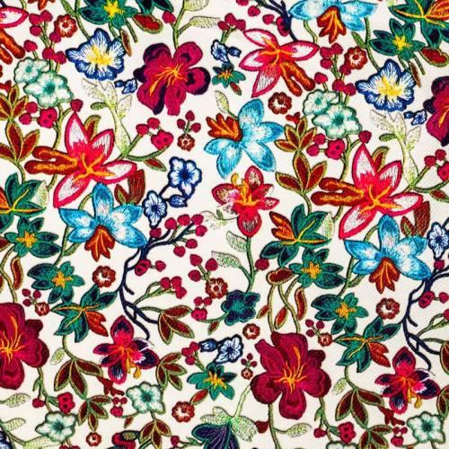 Simili cuir écru motif fleurs des champs multicolores