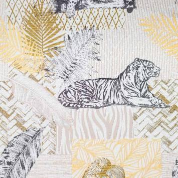 Jacquard blanc motif tigre gris et or