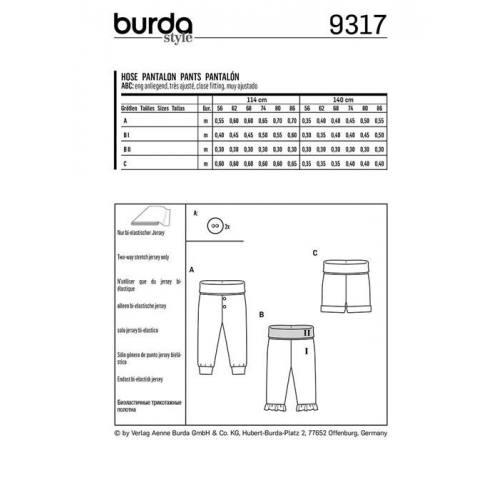 Patron Burda 9317 : Pantalon Taille 56-86
