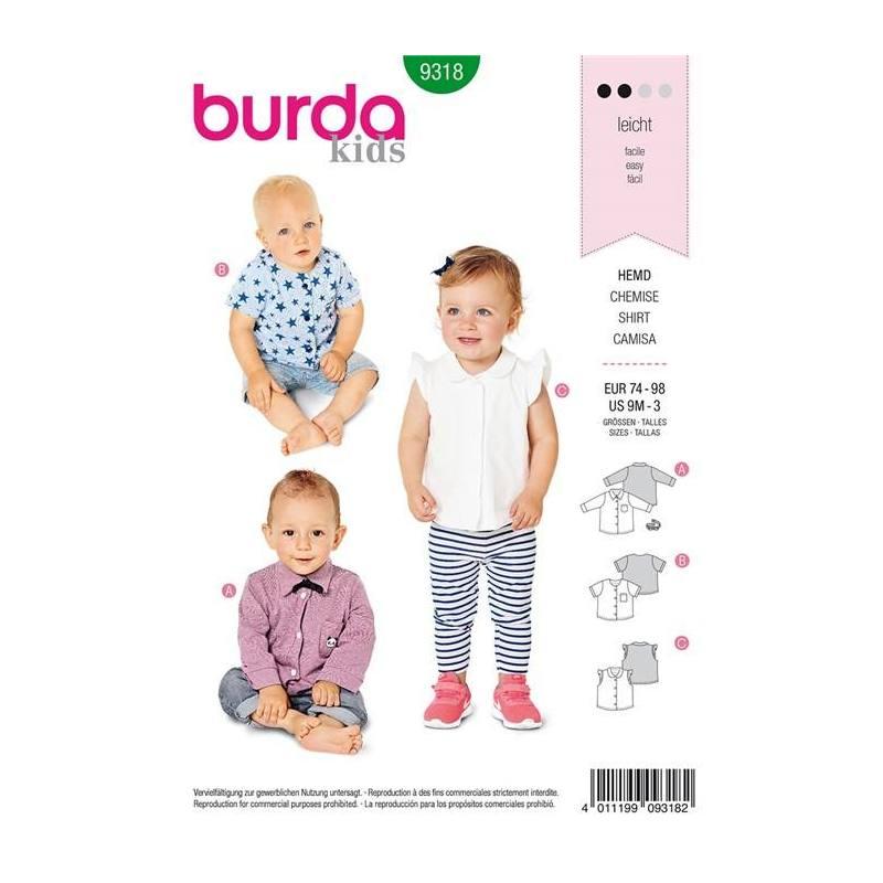 Patron Burda 9318 : Chemise Taille 74-98