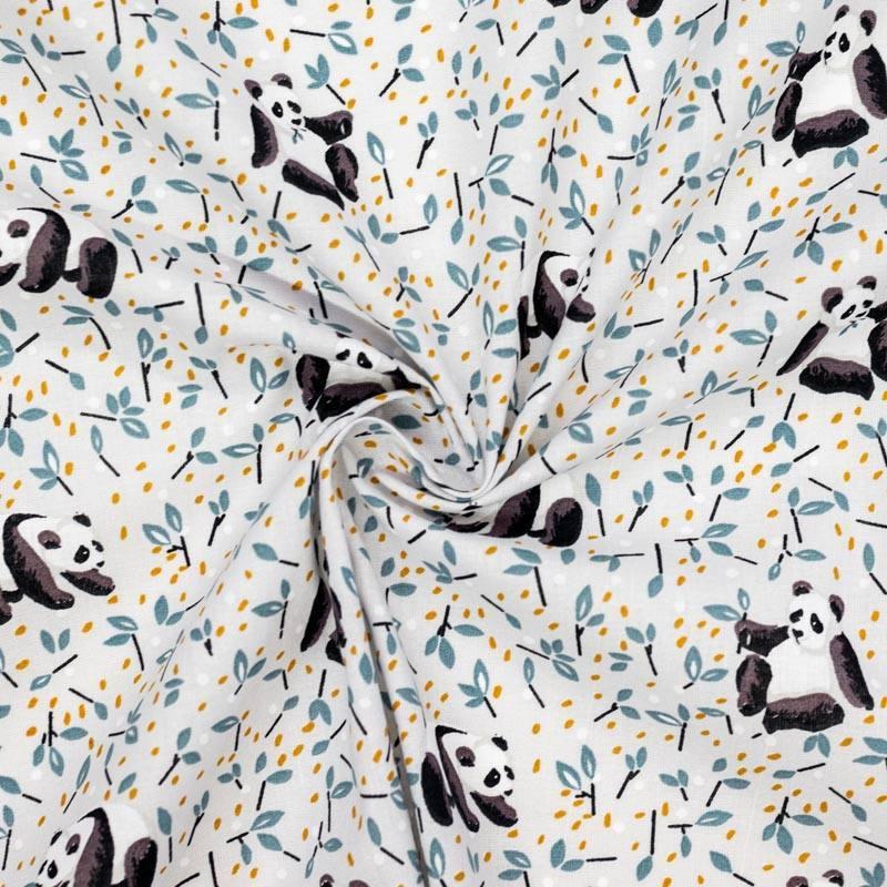 Coton gris perle imprimé pandas