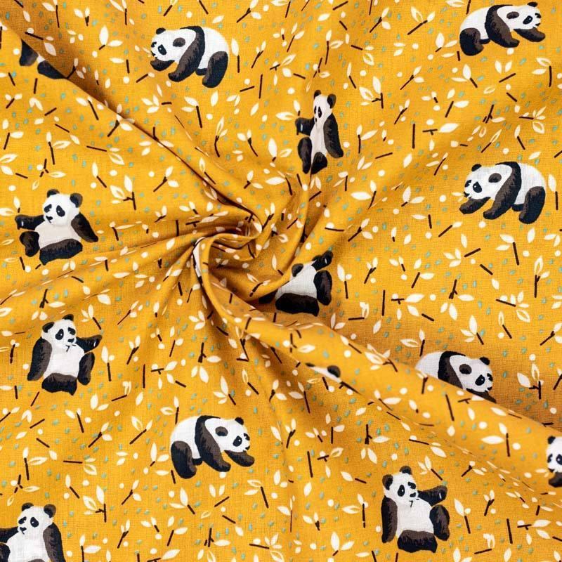 Coton ocre imprimé panda