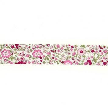 Biais replié à fleurs rose et bordeaux 20mm