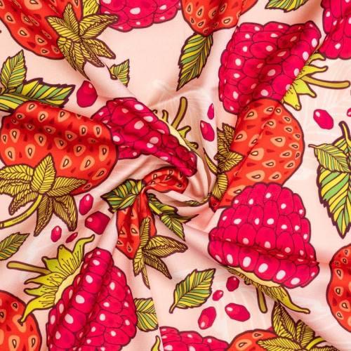 Satin rose chair motif fraise et framboise