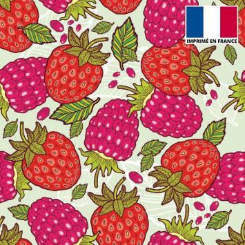 Satin vert pastel motif fraise et framboise
